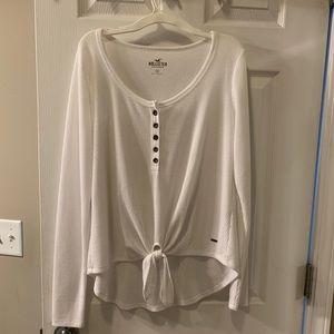 Long- sleeve waffle knit shirt